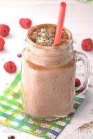 Hemp Chocolate Smoothie with Raspberries & Pomegranates is rich, thick, creamy, and packed with nutrition. Perfect as a meal or post workout drink.   homemadeandyummy.com