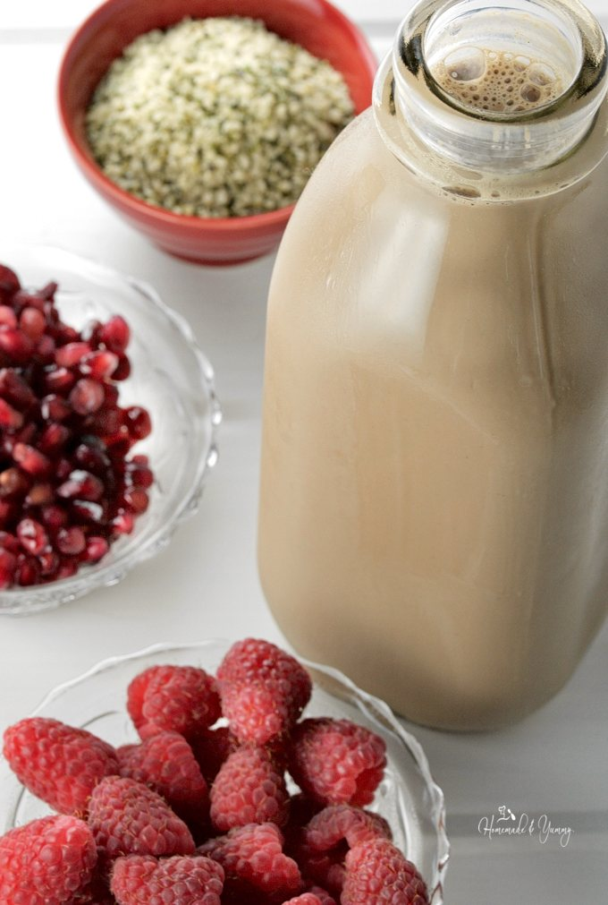 Hemp Chocolate Smoothie with Raspberries & Pomegranates is rich, thick, creamy, and packed with nutrition. Perfect as a meal or post workout drink. | homemadeandyummy.com