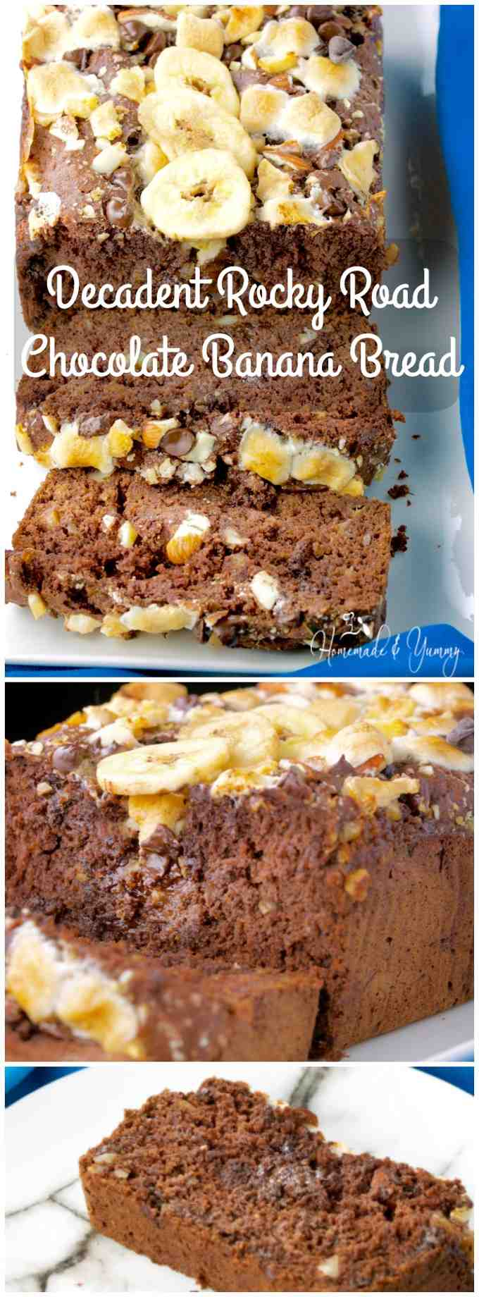 Decadent Rocky Road Chocolate Banana Bread is the perfect match with your afternoon latte. Humble banana bread kicked up a notch (or two). Moist, sweet and totally delicious. | homemadeandyummy.com