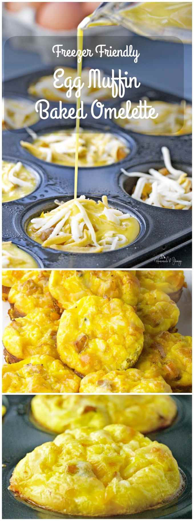 Freezer Friendly Egg Muffin Baked Omelette is great for breakfast, brunch or dinner. An easy way to feed a crowd. Freezer friendly means less work on busy days. | homemadeandyummy.com