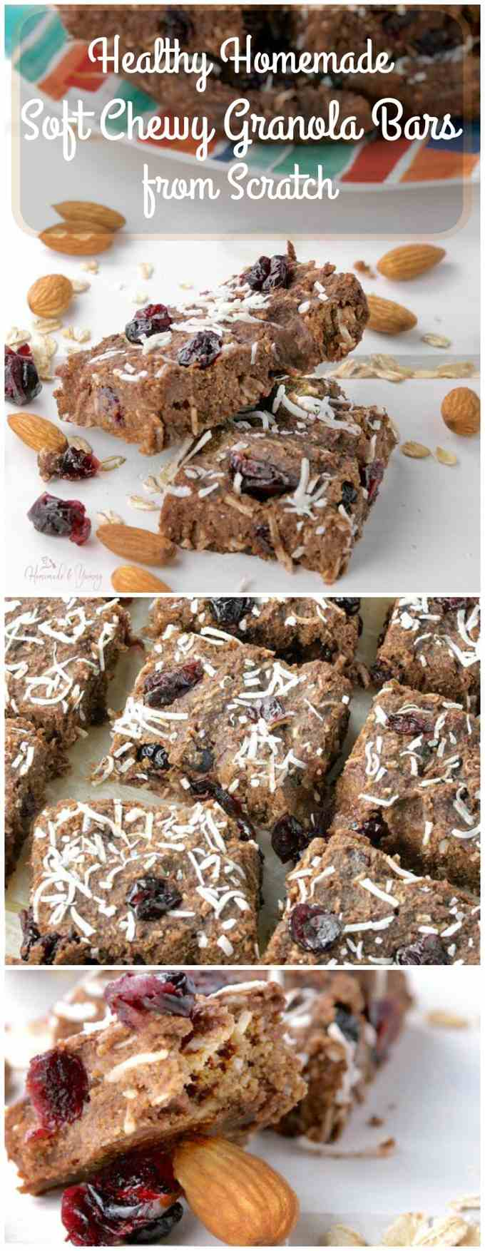 Healthy Homemade Soft Chewy Granola Bars from Scratch. Nutrition with ingredients you can pronounce. | homemadeandyummy.com