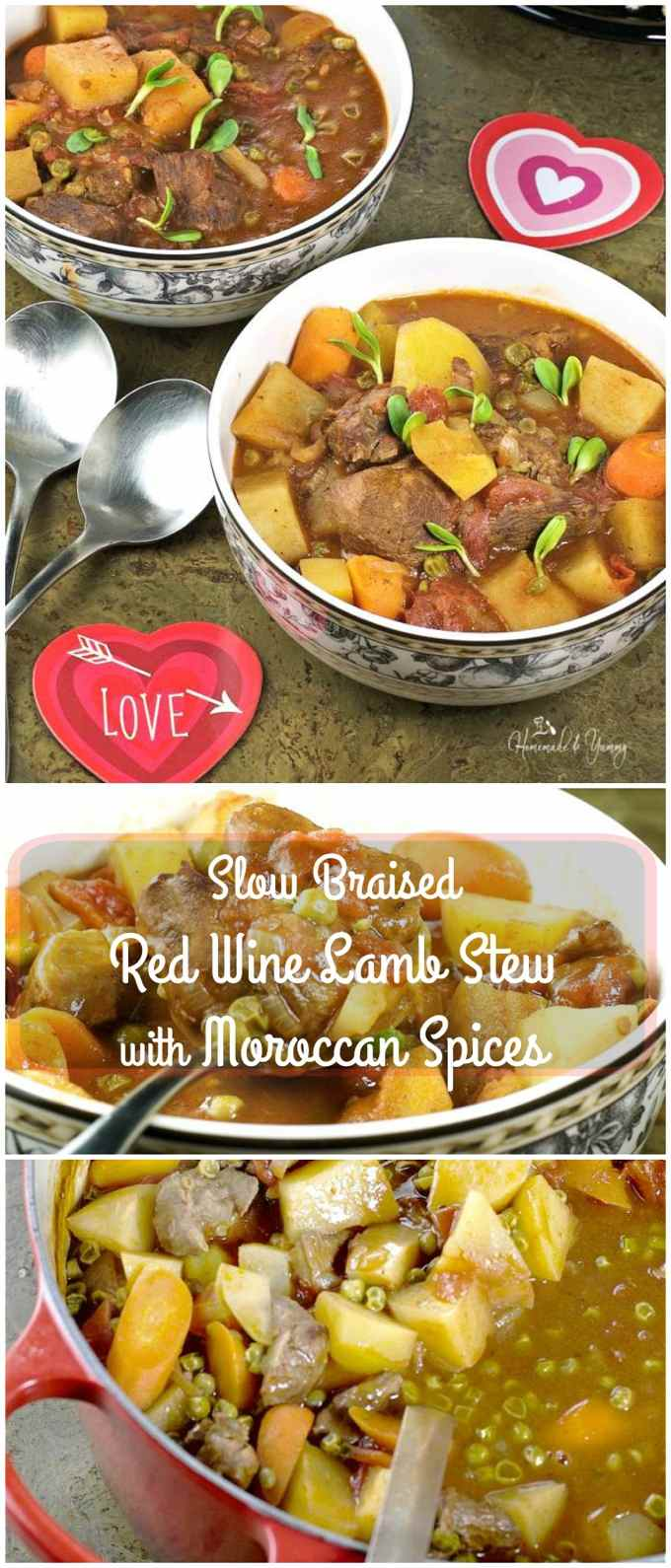Slow Braised Red Wine Lamb Stew with Moroccan Spices is fragrant and hearty. Elegant comfort food, perfect for a special occasion.| homemadeandyummy.com