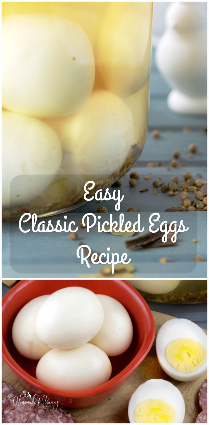 Easy Classic Pickled Eggs Recipe long pin image.