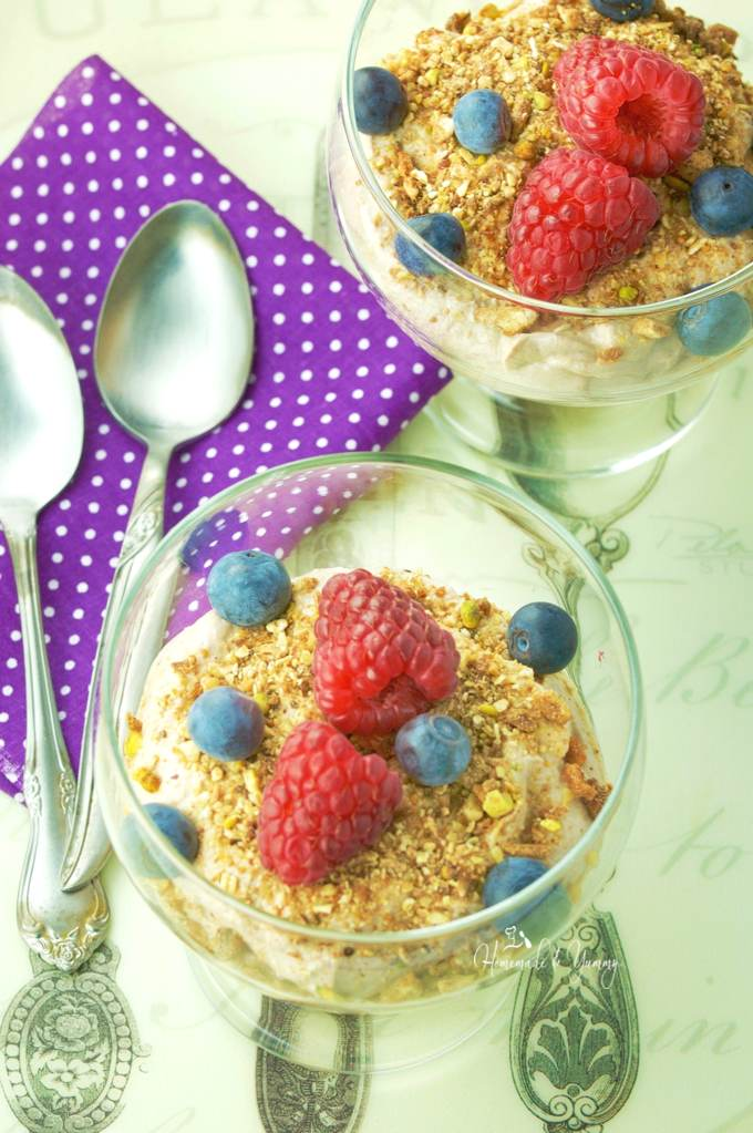 Overhead shot of the mocha recipe in 2 glasses, topped with granola and fresh berries ready to eat.