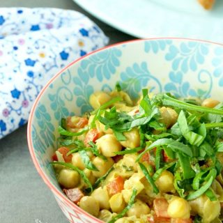 Quick Chickpea Curry is perfect for a fast and easy weeknight dinner. Flavourful with a hint of heat. Gluten free, vegan, and a great meat alternative meal. | homemadeandyummy.com