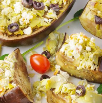 Roasted Eggplant Slices The Perfect Bread Alternative is great for carb watchers. Topped with artichokes, feta cheese & olives. Makes a great appetizer. | homemadeandyummy.com