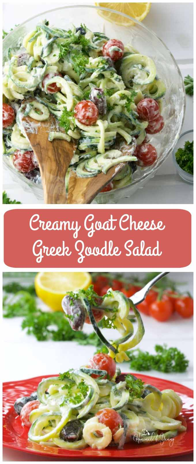 Creamy Goat Cheese Greek Zoodle Salad long pin image.
