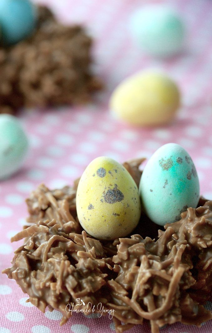 Easter chocolate nest with 2 mini eggs inside
