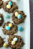Easy No Bake Chocolate Coconut Nests require just 2 ingredients! Melt, mix, shape, set and then fill with your favourite Easter treats.   homemadeandyummy.com