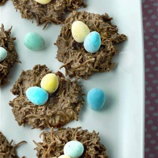 Easy No Bake Chocolate Coconut Nests require just 2 ingredients! Melt, mix, shape, set and then fill with your favourite Easter treats. | homemadeandyummy.com