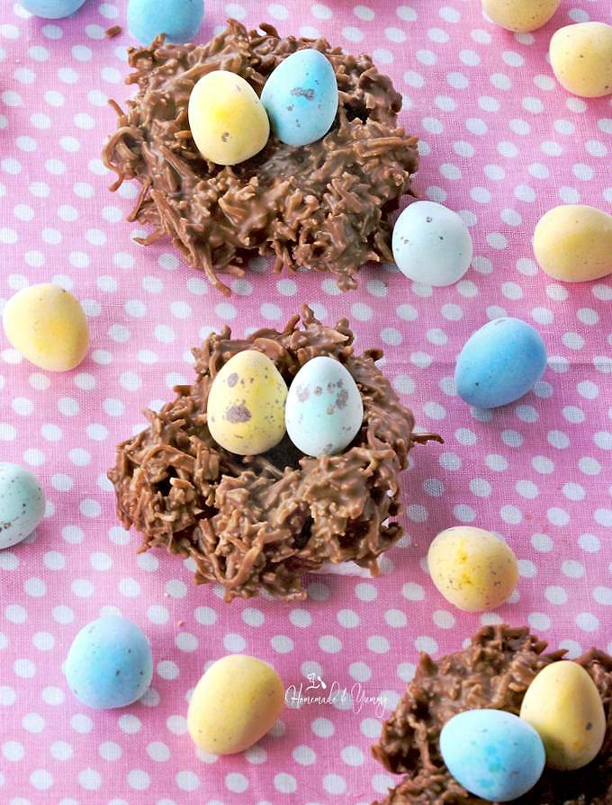 Homemade chocolate nest cookies filled with Easter treats