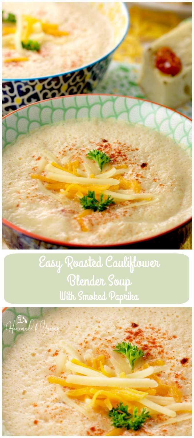 Easy Roasted Cauliflower Blender Soup With Smoked Paprika long pin image.
