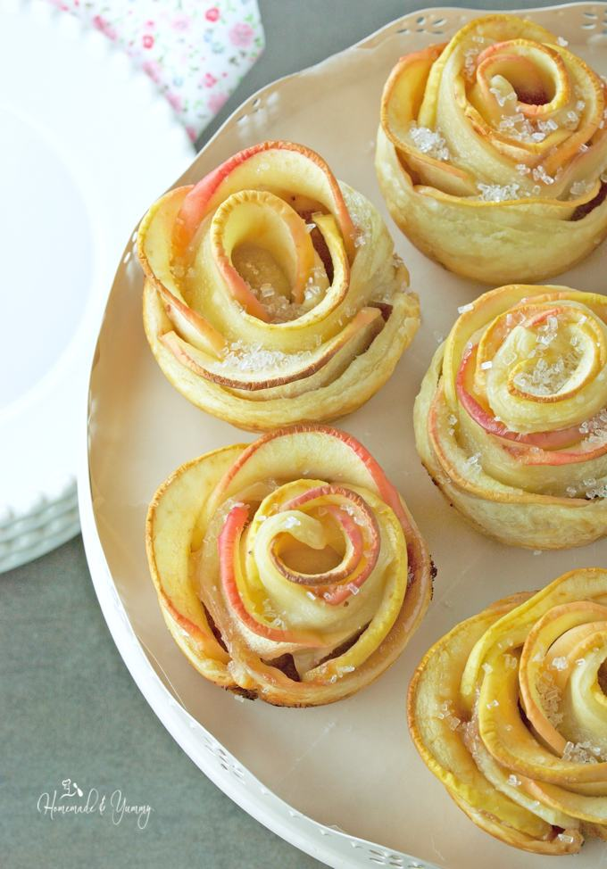 Apple Rose Puffs are such fun to make. Using puff pastry to create an easy and elegant dessert perfect for any occasion. | homemadeandyummy.com