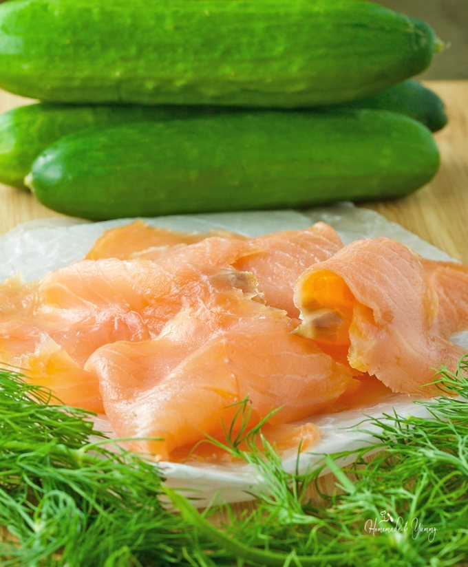 Recipe ingredients, cucumber, dill and smoked salmon.