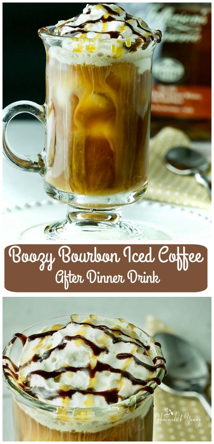 Boozy Bourbon Iced Coffee After Dinner Drink long pin image.