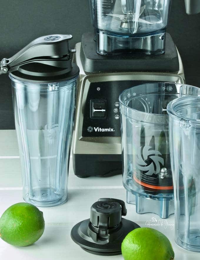 Vitamix product images including blender and adapter cups.