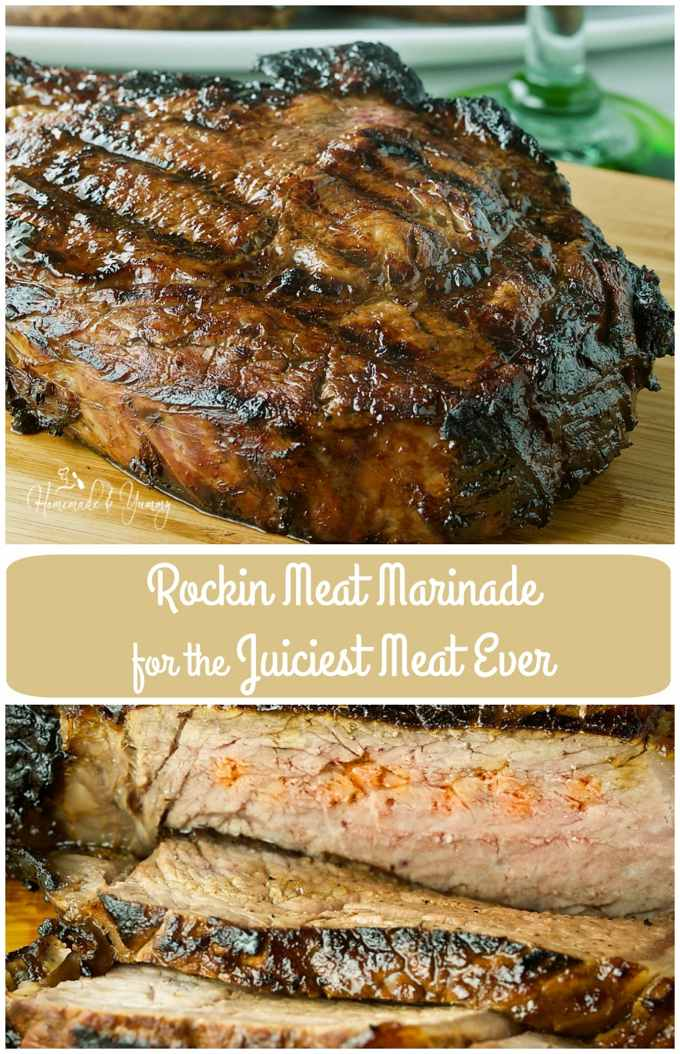 his Rockin Meat Marinade for the Juiciest Meat Ever needs to be a staple in your kitchen. Want excellent results this grilling season? This will do it!! | homemadeandummy.com