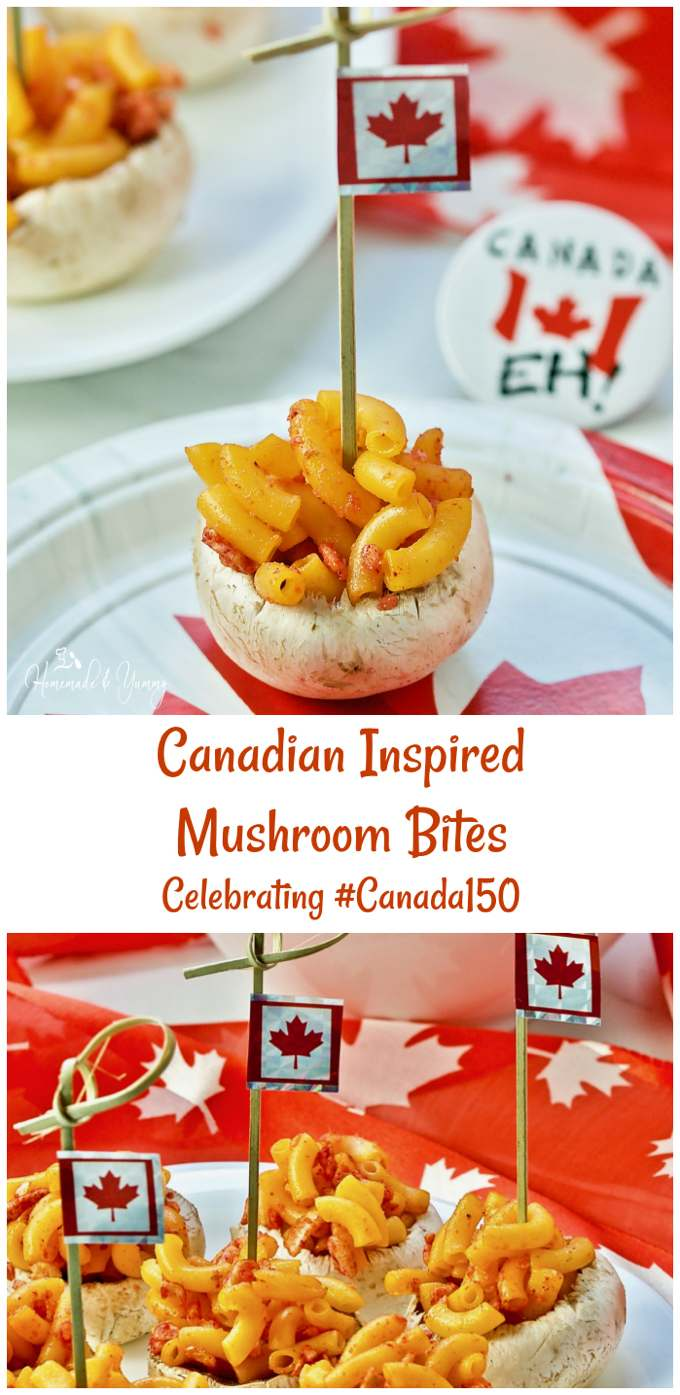 Canadian Inspired Mushroom Bites Celebrating #Canada150 long pin image.
