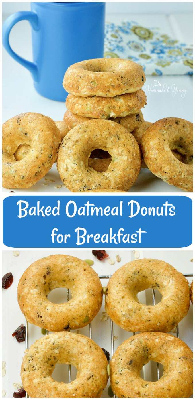 Looking for a fun, healthy and delicious way to start your day? These Baked Oatmeal Donuts for Breakfast are easy to make and packed with nutritious ingredients. Who say's donuts aren't healthy? #healthy #baked #donuts | homemadeandyummy.com