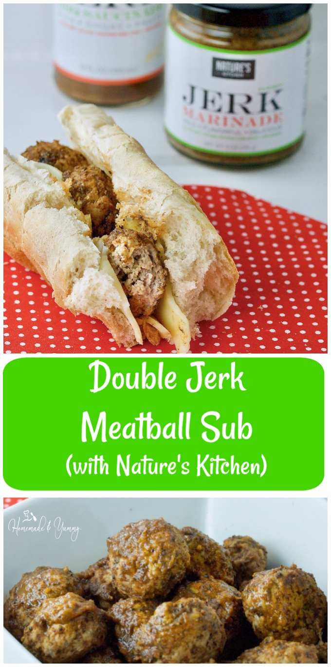 Double Jerk Turkey Meatball Sub long pin image.