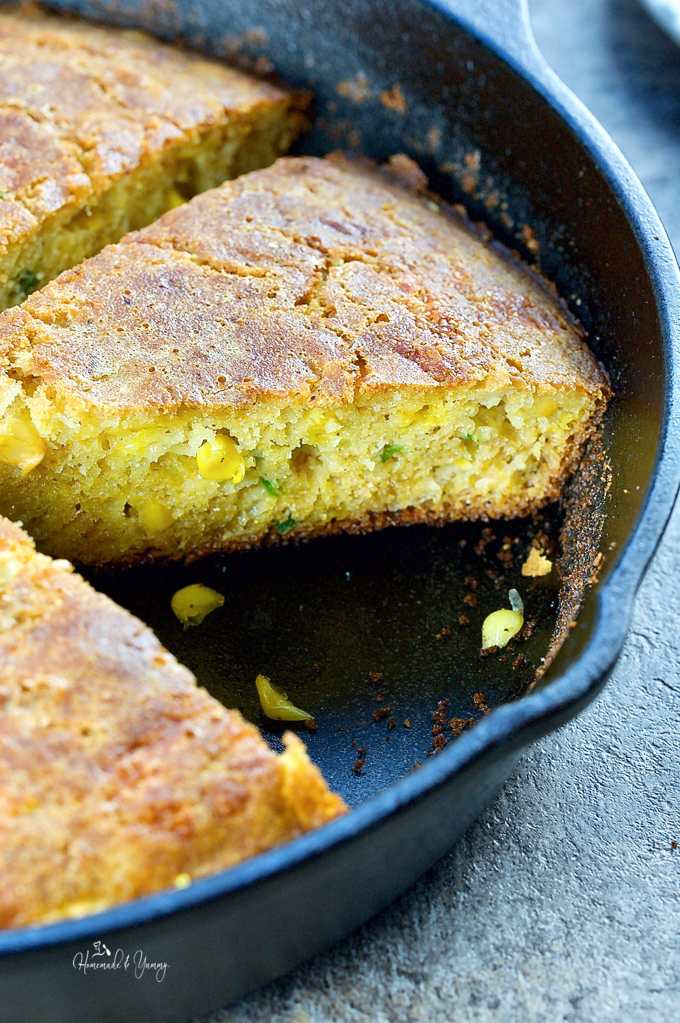 Cast-iron skillet bread with cornmeal.