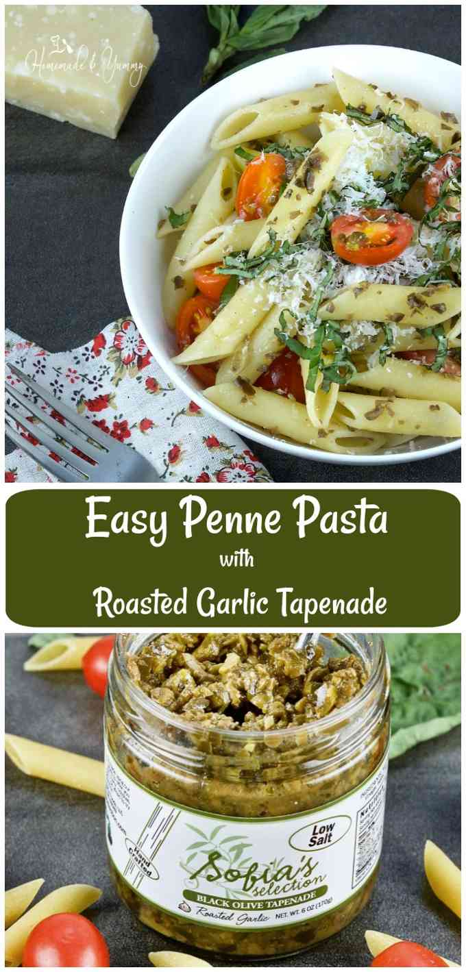Easy Penne Pasta with Roasted Garlic Tapenade long pin image.
