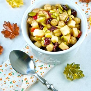 Overhead shot of single serving of Fall Flavours Apple Chickpea Salad.