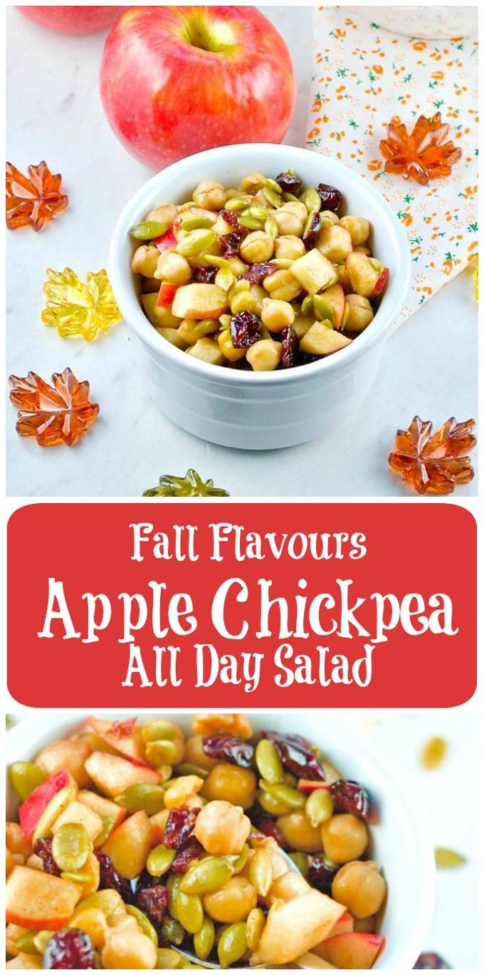 Fall Flavours Apple Chickpea All Day Salad long pin image.