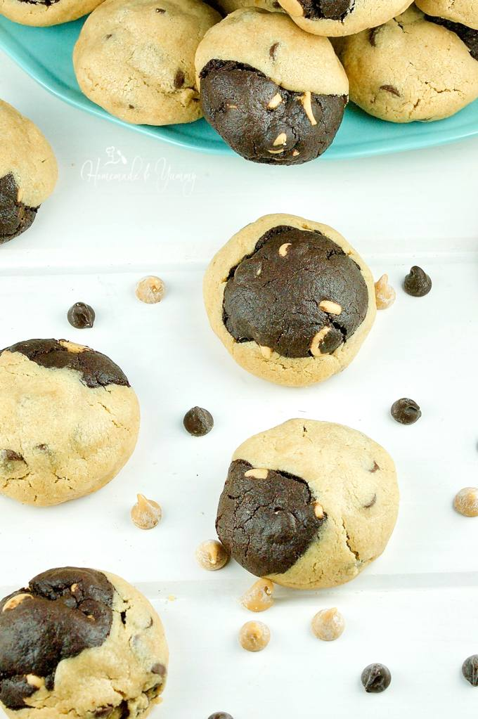"Not your average cookie, Peanut Butter Reverse Chocolate Cookies are the perfect ""special occasion"" crowd pleasing treat. 