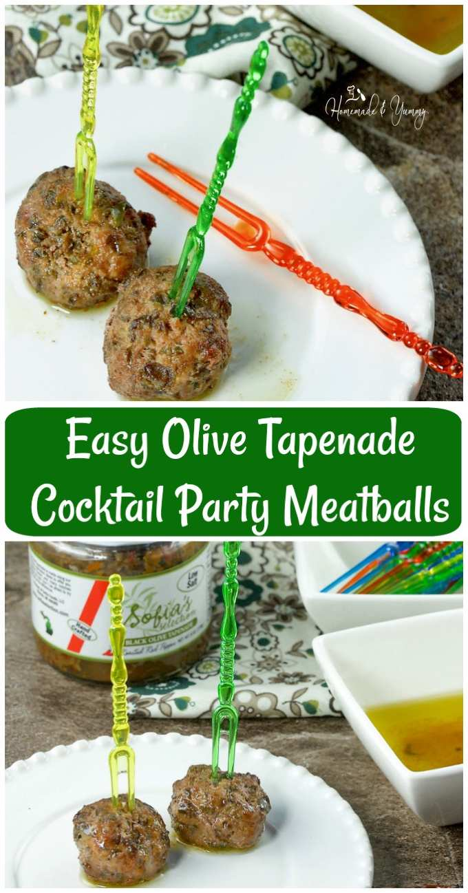 Easy Olive Tapenade Cocktail Party Meatballs Pin for the Pinterest board