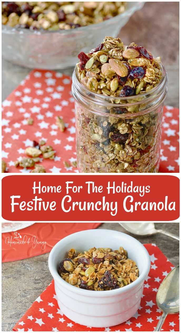 Home For the Holidays Festive Crunchy Granola is not only delicious, but easy to make and healthy too. The perfect holiday food gift. #homemade #granola #holiday #festive #homemadeandyummy | @homemadeandyummy.com