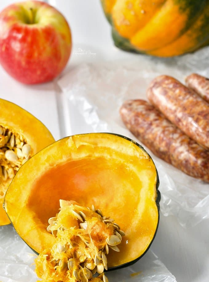 Don't you just love when food is the serving vessel? Hot Italian Sausage and Apple Stuffed Squash is the perfect example of food served in food. #stuffed #squash #seasonal #homemadeandyummy |@homemadeandyummy.com