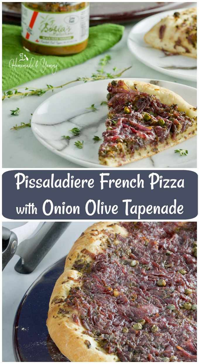 Pissaladiere French Pizza with Onion Olive Tapenade long pin image.