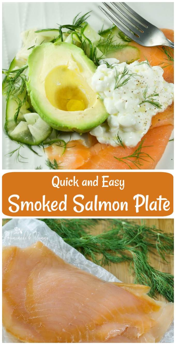Quick and Easy Smoked Salmon Plate long pin image.