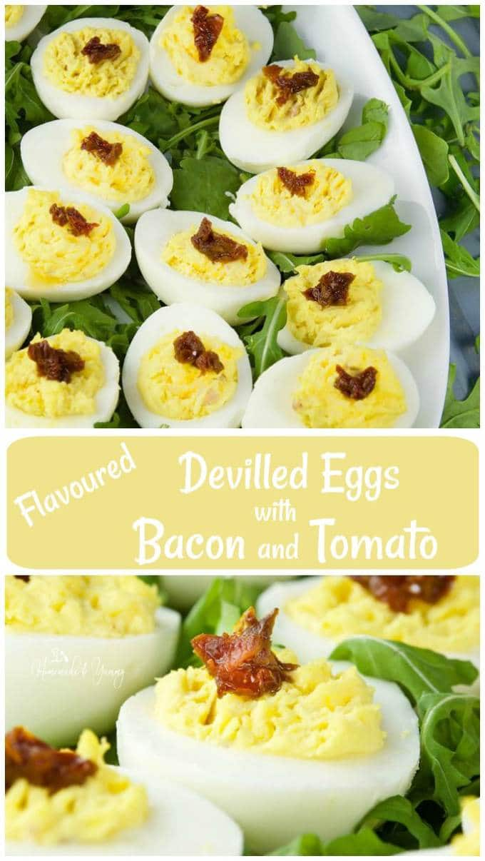 Flavoured Devilled Eggs with Bacon and Tomato Long Pin