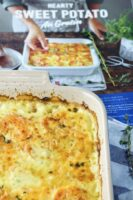 Comparing actual casserole to the picture Milk Calendar Hearty Sweet Potato Au Gratin photo.