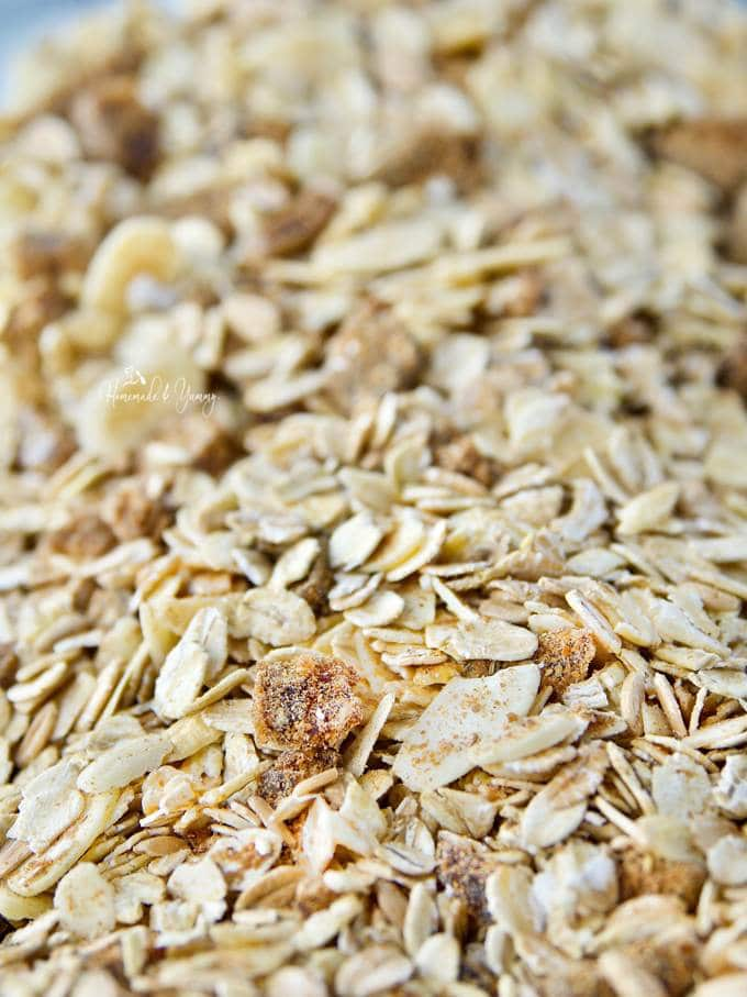 Easy Muesli recipe mixed up in a large bowl ready to put into a container.