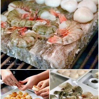 A collage of pictures showing shrimp and scallops on a salt stone on the grill.