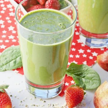 Healthy Hemp Heart Clean Green Smoothie poured into serving glasses.