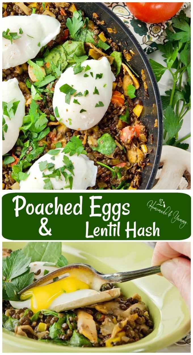 Poached Eggs & Lentil Hash Long Pin