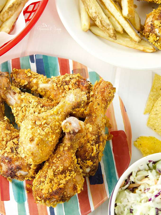 Crispy baked chicken drumsticks mexican inspired homemade yummy a pile of the crispy drumsticks piled on a plate forumfinder Gallery