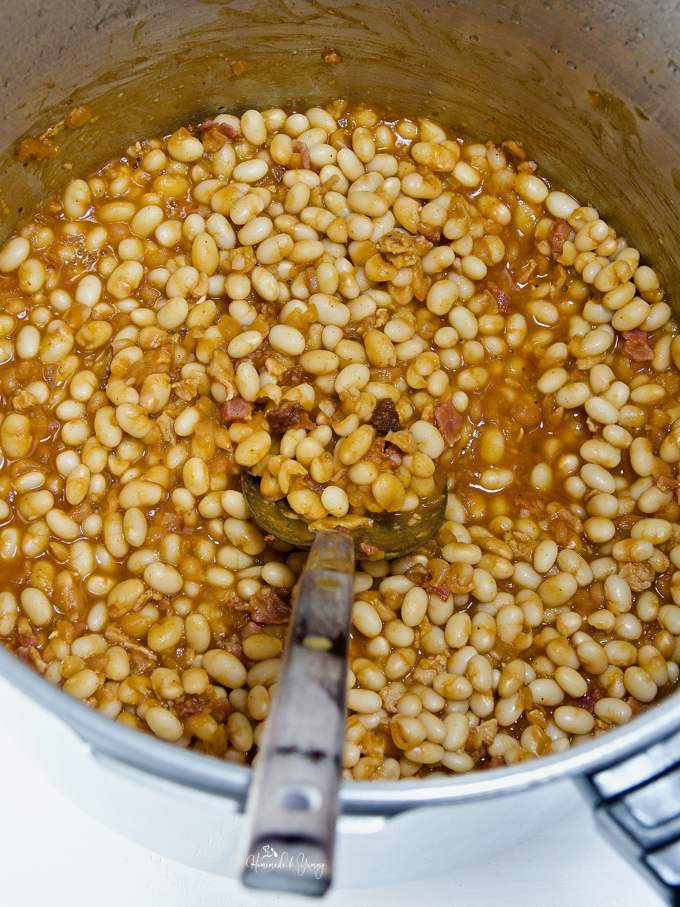 A pot of pressure cooked baked beans.