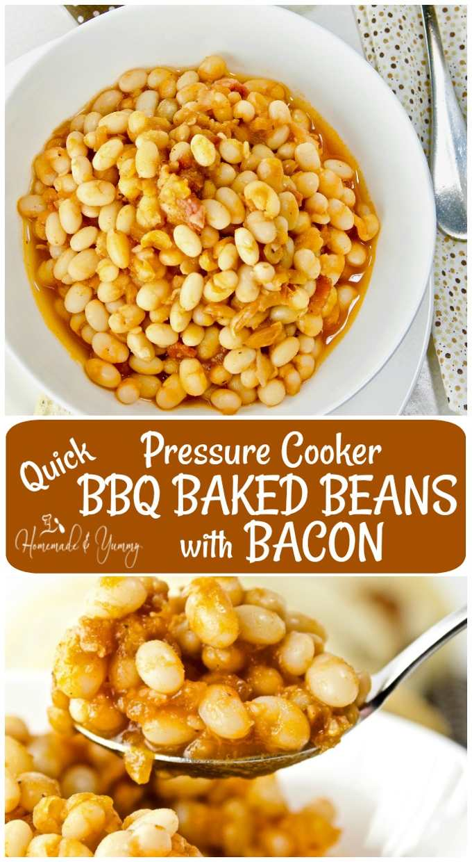 Pressure Cooker Baked Beans with Bacon long pin image.