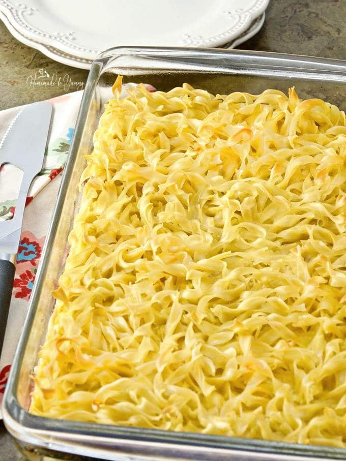 Egg noodle casserole traditional ukrainian style homemade yummy egg noodle casserole right out of the oven ready to cut and serve forumfinder Gallery