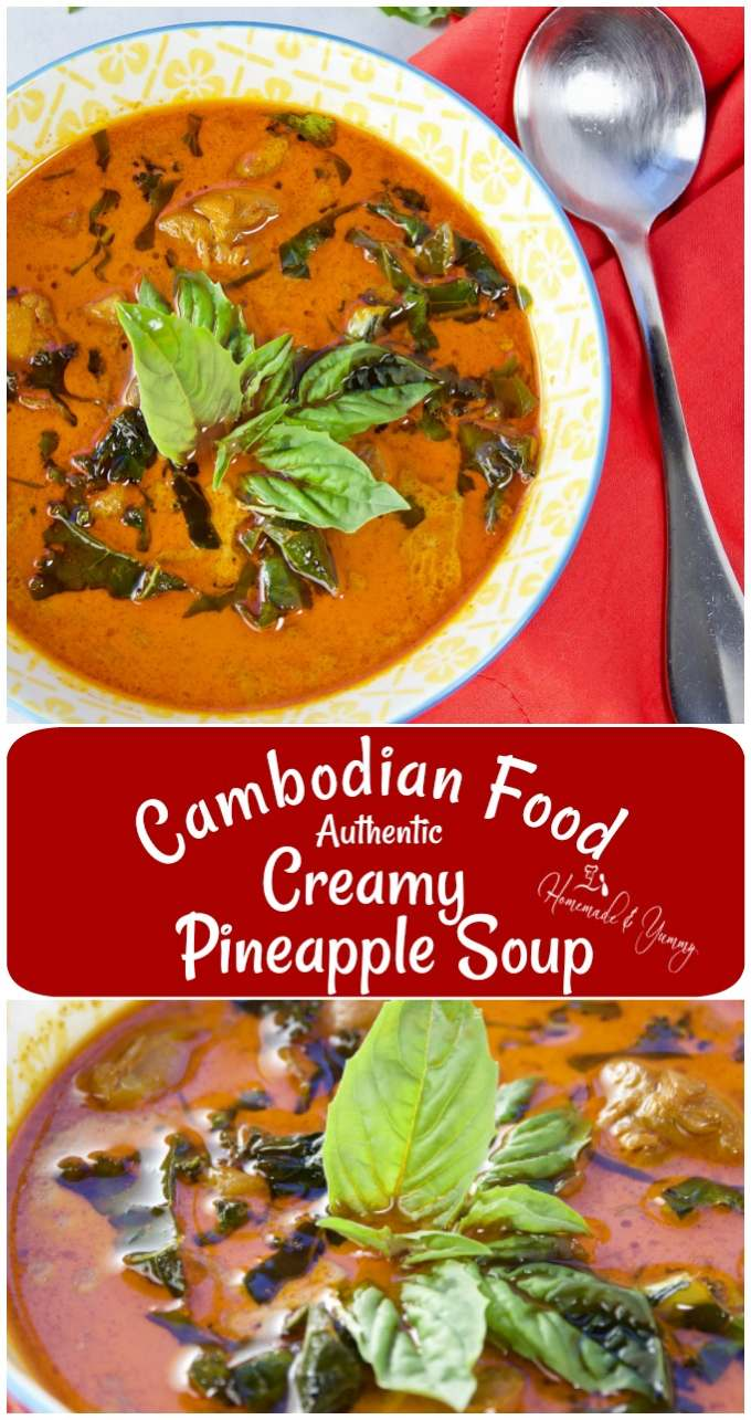 Cambodian Food Authentic Creamy Pineapple Soup pin image.
