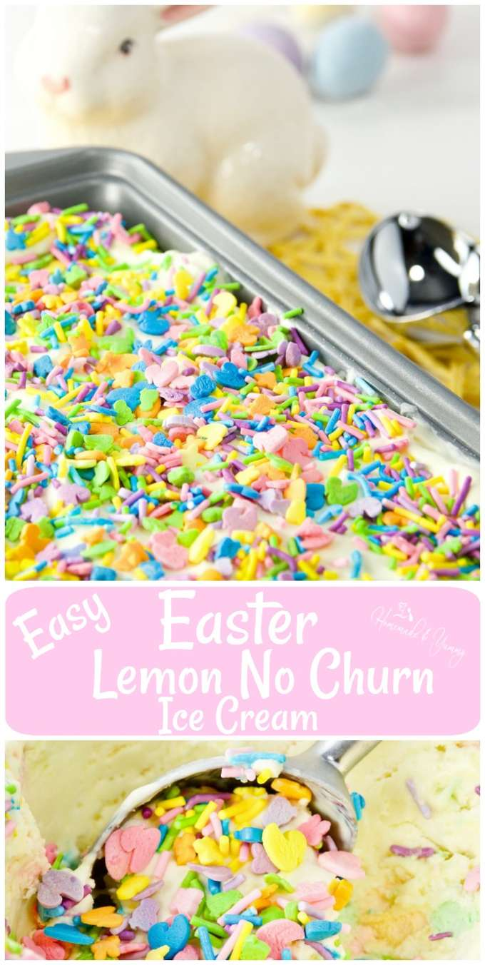 Lemon No Churn Ice Cream long pin image.