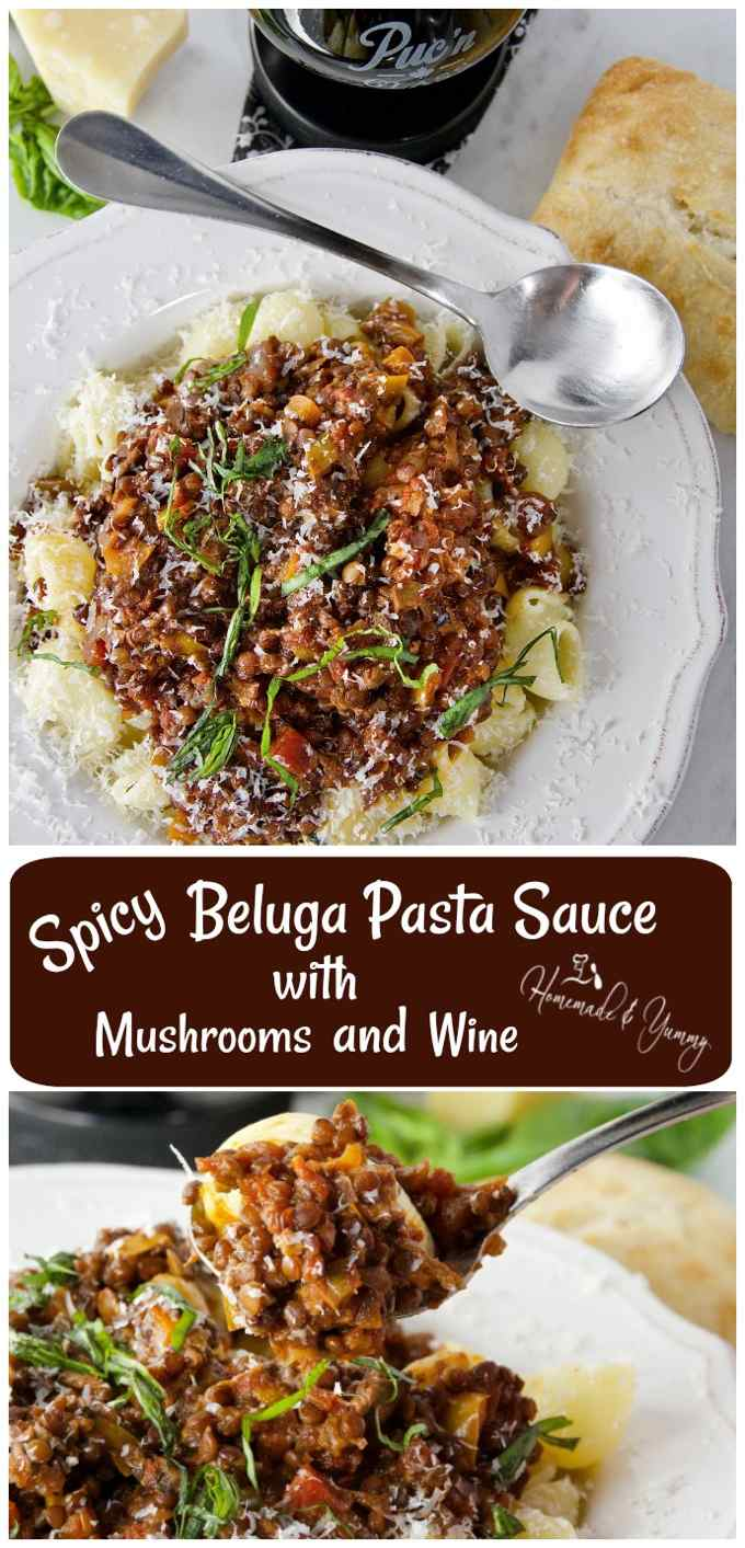 Spicy Beluga Pasta Sauce with Mushrooms and Wine long pin image.