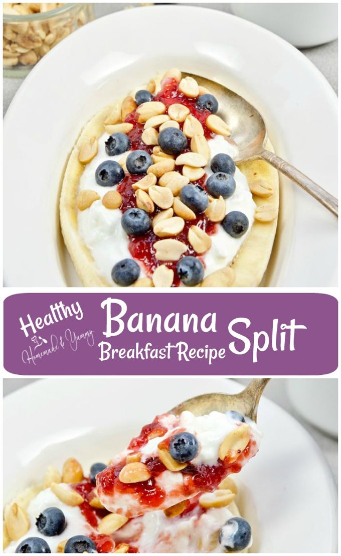 Healthy Banana Split Breakfast Recipe long pin image.