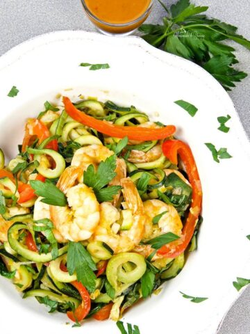 Overhead shot of Healthy Zucchini Noodle and Shrimp in a bowl.