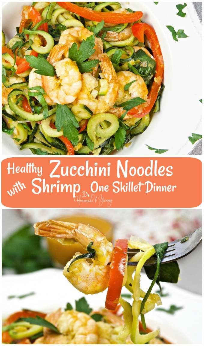 Healthy Zucchini Noodles with Shrimp One Skillet Dinner long pin image.